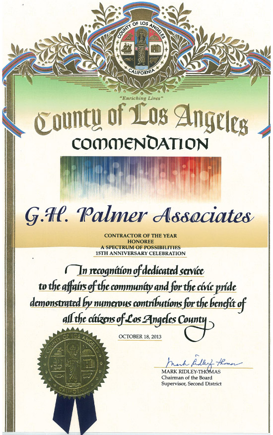 2013 County of Los Angeles Contractor of the Year Honoree Commendation
